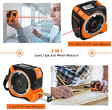 Laser Tape Measure,3-in-1 Wheel Measuring Laser Measure 131.2Ft Tape Measure 16.5Ft Laser Distance Meter with Type-C Interface and LCD Display for Measuring Area/Volume/Pythagorean-TACKLIFE TM-L02