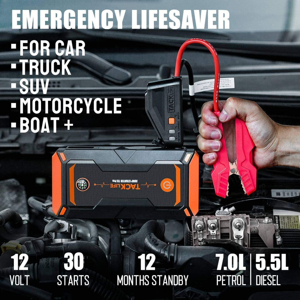 TACKLIFE T8 Pro 1200A Peak 18000mAh Water-Resistant Car Jump Starter (up to 7.5L Gas, 6L Diesel Engine) with LCD Screen, USB Quick Charge, 12V Auto Battery Booster, Portable Power Pack