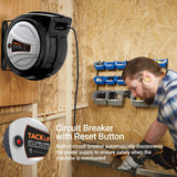 TACKLIFE Retractable Extension Cord, 65FT+4.5 Extension Cord Reel, 12AWG,15A/SJTOW, 180°Swivel Mounting, Triple Socket, Advanced Slow Retraction Technology (SRT), Reset Button and Adjustable Stopper