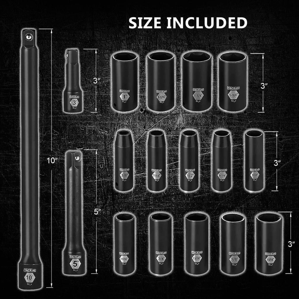 1/2-Inch Drive Master Deep Impact Socket Set, Inch, CR-V, 6 Point, 17-Piece Set - HIS2A