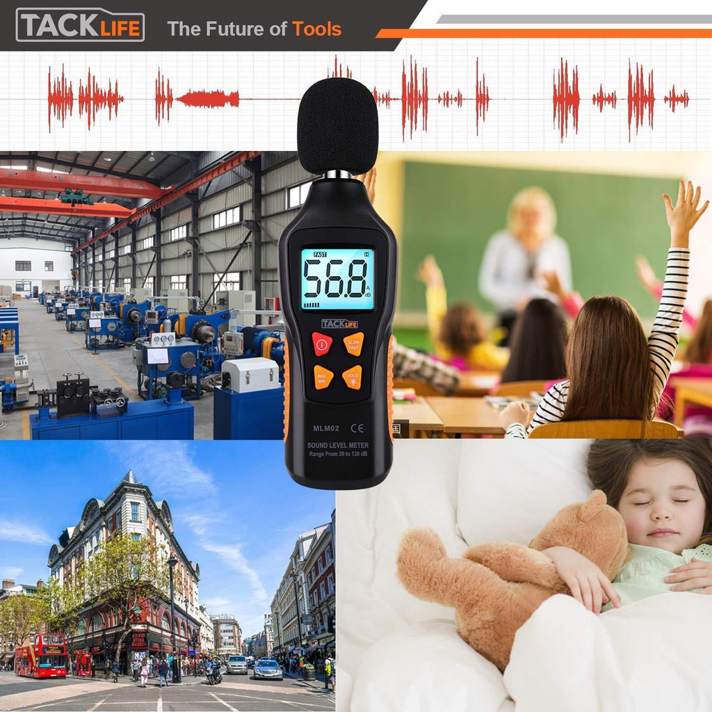 Decibel Meter, TACKLIFE Digital Sound Level Meter 30-130dB(A) Range with Sound Simulation - MLM02