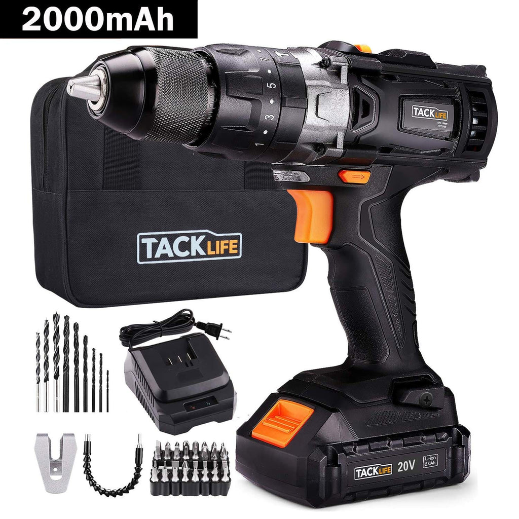 "Cordless Drill Driver Set 20V 1/2""  Auto-Lock with Hammer Action-PCD04B"