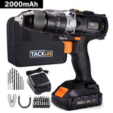 "TACKLIFE 20V Cordless Drill, 35N.m, 43pcs, 1 Hour Fast Charger & 2.0Ah Li-ion Battery, Hammer Drill with 0-1600RMP Variable Speed, 1/2"" Metal Chuck, 16+3 Clutch, Drilling Wood, Metal, Cement - PCD04B"