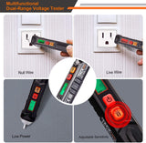 Non-Contact Voltage Tester with Adjustable Sensitivity, LCD Display, LED Flashlight, Buzzer Alarm - Tacklife VT02