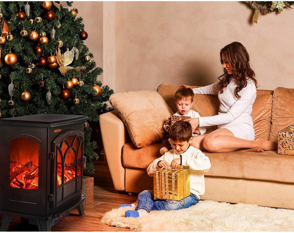 Electric Fireplace Heater Adjustable Flame Portable Indoor Freestanding Fireplace Stove Dual Mode 750W-1500W 2600BTU-5200BTU CSA Certified-ZXH11