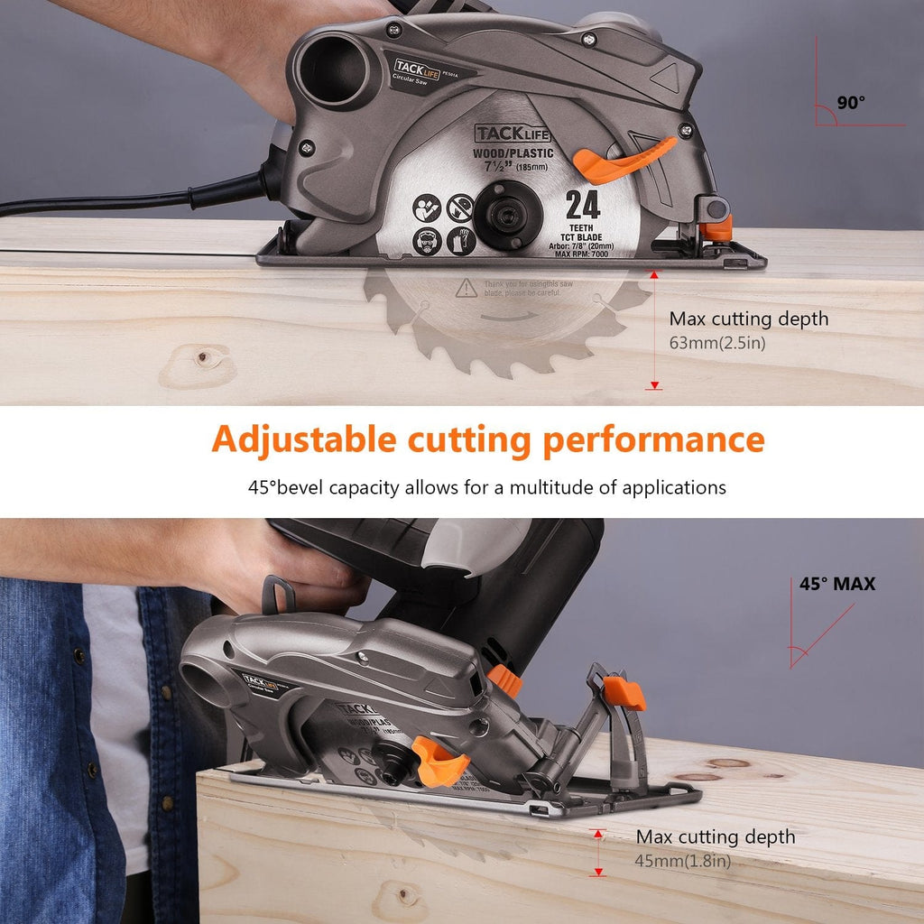 "TACKLIFE 7-1/4"" Classic Circular Saw with Laser, 2 Blades(24T&40T) - PES01A"