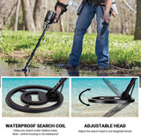 "Metal Detector, Adjustable Waterproof Detectors (41""-53"") with DISC Mode, Pinpoint Function, LED Light- MMD04"