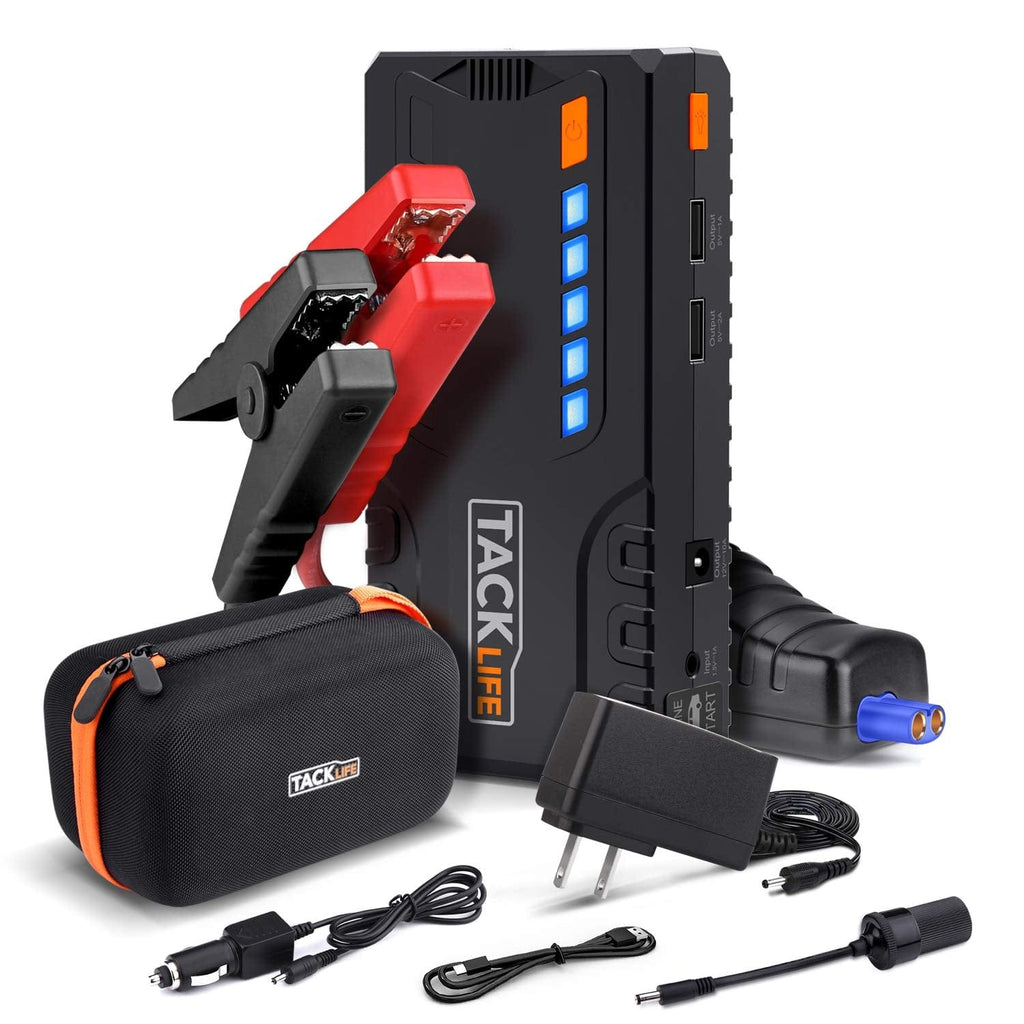 TACKLIFE T6 800A Peak 18000mAh Car Jump Starter (up to 7.0L Gas, 5.5L Diesel Engine) with Long Standby, Quick Charge, 12V Auto Battery Booster, Portable Power Pack for Cars, Trucks, SUV