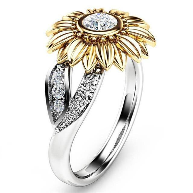 Cute Sunflower Crystal Wedding Rings Pinpoint Deals