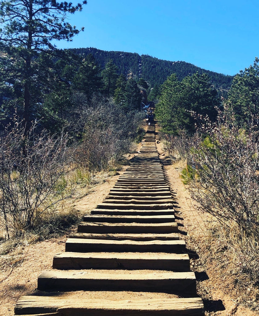 Empowerment depicted by the steps at the manitou incline in colorado
