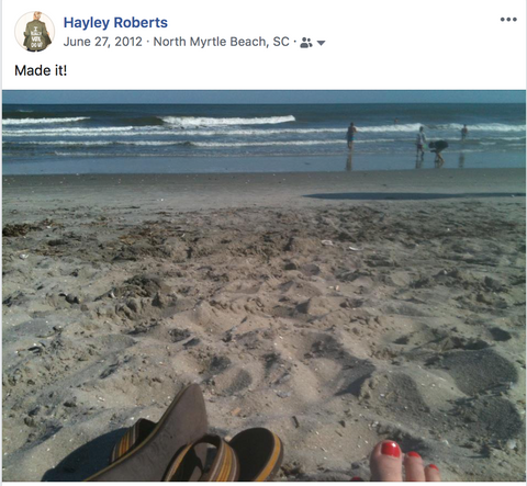 Facebook post from June 27, 2012. Atlantic ocean as seen from North Myrtle Beach, red painted toes in the sand and flip flops to the side.