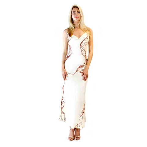 Sienna & Cream - Hand Painted Silk Dress