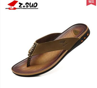 Z . suo men's casual flip flops . ZSUO hot selling male leather slippers , ZS918 , free shipping