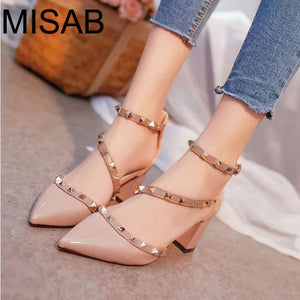 2016 women pumps fashion new design rivets women sandals comfortable square heels quality high heels summer autumn heels ALF204