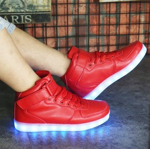 2017 lights up LED luminous shoes high top glowing casual shoes with new simulation sole charge for men Unisex adults neon shoes