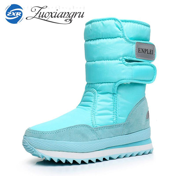 Zuoxiangru Winter Women's Boots Snow Boots Cow Suede leather Russia Warm Boots Rubber Boots for Women Big Size Women's Shoes 42