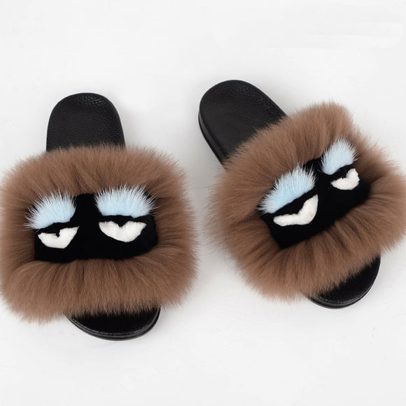 Yu Kube Real Fox Fur Slides With Eyes Plus Size Summer 2018 Fluffy Real Hair Slippers Flat Slip On Flip Flops Casual Furry Shoes