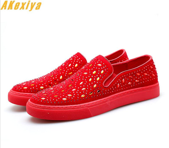 2018 Fashion Designer Men Rhinestone Casual platform Flats Shoes Walking Slip on Male Wedding Shoes Moccasins Loafers