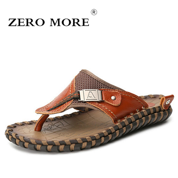 ZERO MORE Luxury Brand 2018 New Men's Flip Flops Genuine Leather Slippers Summer Fashion Beach Sandals Shoes For Men Big Size 45