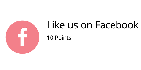 Ways to earn points - 10 points if you like us on facebook