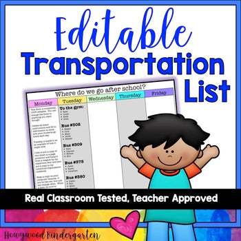 Transportation List ... EDITABLE!