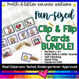 Math AND Letter Sounds Editions: Fun-Sized Clip & Flip Cards BUNDLE!