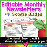 Newsletter Templates EDITABLE for Google Slides . Share digitally or on paper!