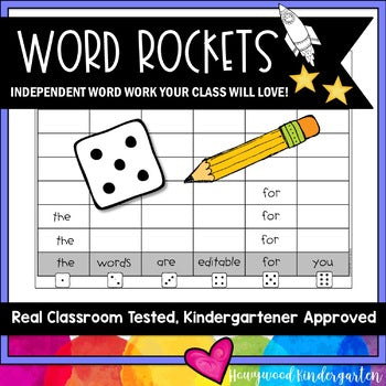 Word Rockets Spelling or Sight Word Work for ANY Words . Use All Year . SIMPLE.