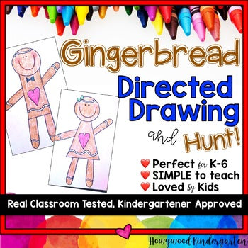 Gingerbread Man Directed Drawing & Hunt! . Fun @ Christmas . Winter . December
