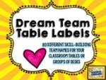 "Table Label Signs! 80 skill-building ""team names"" for tables / desks!"