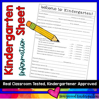 Back to School Kindergarten Information Sheet for Parents to Complete