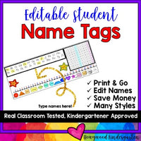 Flexible Seating or Desk Name Plates / Tags! Editable! Adjustable sizes!