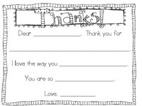 THANK YOU note! Fill in the blank...perfect for K-1! Parents, Volunteers, etc!