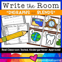 Write the Room . Digraphs & Blends . simple letter & sounds literacy word work