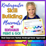 Kindergarten skill practice placemat: name , colors , shapes , numbers , letters