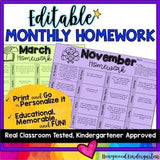 EDITABLE Monthly Homework Solutions BUNDLE!
