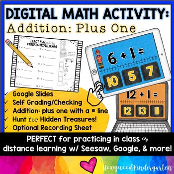 Digital Math Activity ADDITION PLUS ONE for Google Seesaw Distance or In Person!