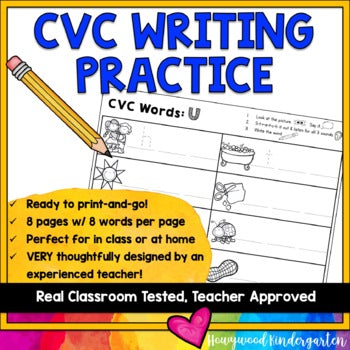CVC Word Writing Practice : Perfect for in class or at home!