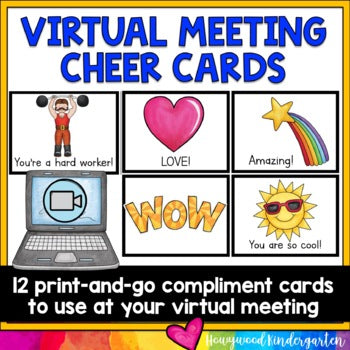 Virtual Meeting Cheer / Compliment Cards for Zoom or Google Meet