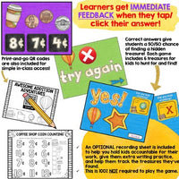 Digital Math Activity COUNTING COINS for Google Seesaw Distance Learning Hybrid