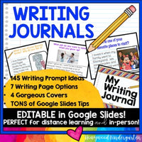 EDITABLE WRITING JOURNAL * Google Slides * 145 Prompts * Distance Learning * FUN
