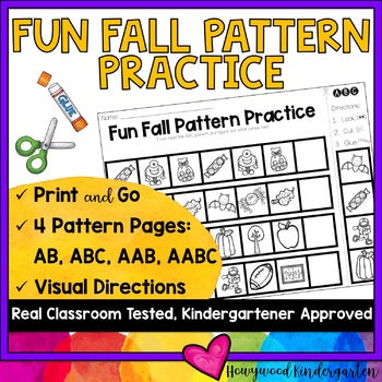 Fun Fall Pattern Practice : AB, ABC, AAB, AABC : Print & Go, 4 Options, FREE!