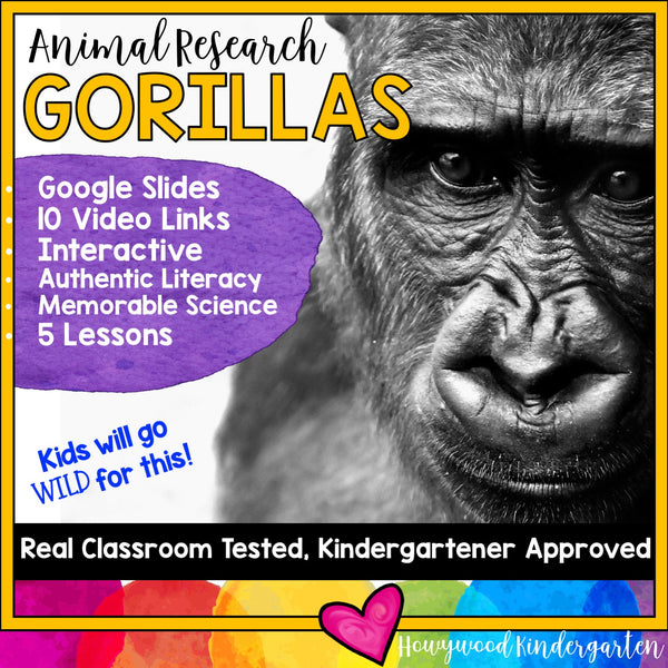 Gorillas ... 5 days of animal research mixed w/ literacy skills, videos, & FUN