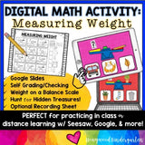 Digital Math Activity MEASURING WEIGHT for Google Seesaw Distance or In Person!