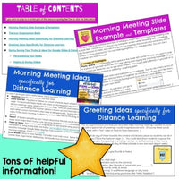 Morning Meeting Slides & Stickers - for Distance Learning at Home OR In-Person!