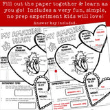 Valentines Day : My Amazing Heart Science Research, Health & Literacy All-in-One