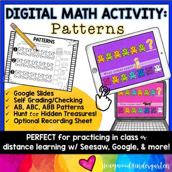 Digital Math Activity PATTERNS for Google Seesaw Distance Hybrid or In Person!
