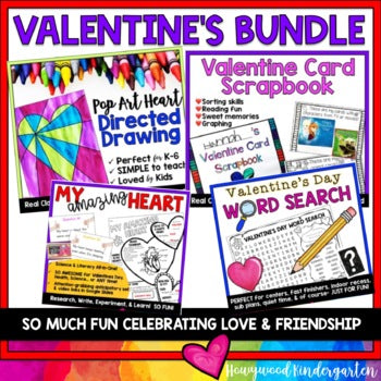 VALENTINES DAY BUNDLE : DIRECTED DRAWING , SCRAPBOOK, SCIENCE, WORD SEARCH