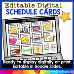 122 Visual Schedule Cards . Editable in Google Slides . Use Digitally or Print!
