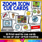Distance Learning Virtual Meeting Icon Cue Cards for Zoom or Google Meet